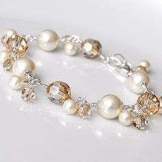 Wedding Bridal Bracelet Golden Crystal and by somethingjeweled, $78.00