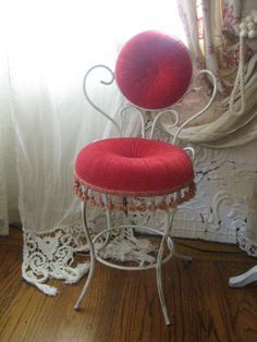 Hold for Ruth - Vintage Vanity Chair with Velvet Cranberry ...