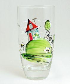 Verre à eau (510 ml) : : Maison   *** Produit peint à la main. Stained Glass, Wine Glass, Tableware, Handicraft, Paint, Home, Dinnerware, Tablewares, Stained Glass Panels