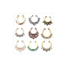 1pcs Punk Nose Piercing Rock Skull Head Rhinestone Flower Body Jewelry... ($3.14) ❤ liked on Polyvore featuring jewelry, piercings, white, body jewellery, rhinestone skull jewelry, flower jewelry, body jewelry and skull jewelry