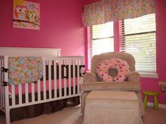 Baby Nursery Adopting Hospital Nursery for Perfect Baby Nursery at Home: Bright Strawberry Pink Baby Nursery Room Design With Color Of Strawberry Ice Cream Painted Wall And Well Matched Rainbow Color Flower Pattern On Blanket And Curtain
