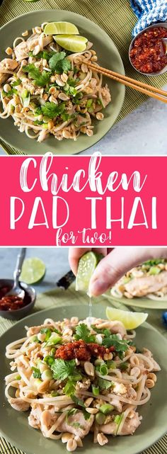 This Weekday Chicken Pad Thai for Twois a scaled-down version of the popular street food common in Thailand. Chewy noodles, crunchy peanuts, and a tangy-spicy sauce accompany juicy stir-fried chicken breast for a meal that's ready to enjoy in 30 minutes! #padthai #dinnerfortwo #asian #dinner #30minute #recipe #thaifood