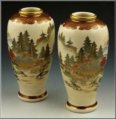 Beautiful Signed Pair of Japanese Satsuma Vases with Shimazu Mark