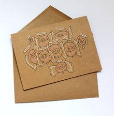Cute Christmas card/ funny angel Christmas card/ by MashUpArt