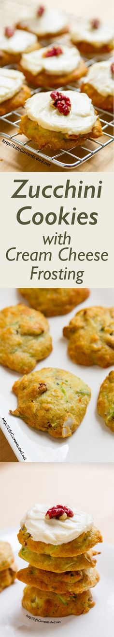 Zucchini Cookies with Cream Cheese Frosting a great soft cookie that's chock full of goodies like walnuts, coconut, and zucchini. Healthy Desserts, Just Desserts, Delicious Desserts, Yummy Food, Cream Cheese Cookies, Cream Cheese Frosting, Cookie Recipes, Dessert Recipes, Bar Recipes