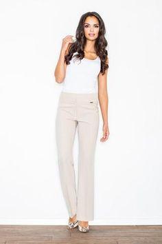Beige Elegant High Waist Office Style Pants