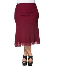 Another great find on #zulily! Burgundy Pleated Skirt - Plus by Essential Collection #zulilyfinds