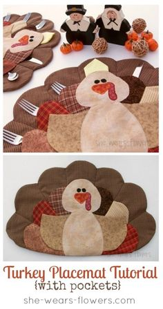 turkey+placemat+tutorial  *PATTERNS+(click+to+download) *thread+-+dark+brown,+light+brown,+red,+orange,+black,+invisible+(clear) *fabric+-+(100%+cotton+fabric+works+best)+multiple+scraps+for+feathers,+scraps+for+facial+features,+tan+for+body+(6+x+12+inches),+tan+for+wings+(12+x+12+inches),+fabric+for+backings+(3/4+yard) *low+loft+batting+*1/4+
