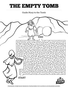 John 20 The Empty Tomb Bible Mazes: Featuring artwork from The Empty Tomb Sunday School lesson this John 20 Kids Bible Maze is perfect for your upcoming Easter Bible lesson. Striking the perfect balance of fun and difficulty this Kids Bible activity will be a class favorite!