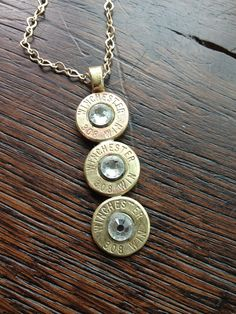Handmade Personalized Triple .308 Caliber Bullet Drop Necklace with Clear Swarovski Crystals on Etsy, $40.00