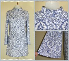 White and Royal blue geometric paisley dress with standup collar and Angel sleeves https://www.etsy.com/uk/listing/200442482/60s-dress-60s-psychedelic-paisley-dress?ref=shop_home_active_1