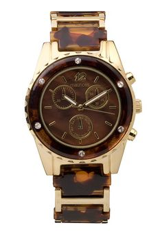 Tortoise Rhinestone Embellished Boyfriend watch (original price, $24) available at #Maurices