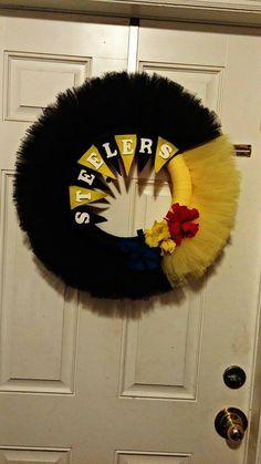 Cheerleading Steelers Football Wreath by KidScanArt on Etsy