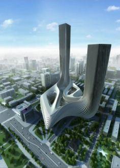 Zaha Hadid Architecture, Unique Architecture, Futuristic Architecture, Concept Architecture, Future Buildings, Unique Buildings, Amazing Buildings, Modern Skyscrapers, Bagdad