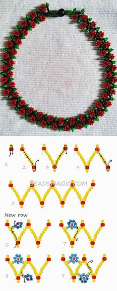 Best Seed Bead Jewelry 2017 Free pattern for necklace Spring Flowers kása gyöngy Beaded Necklace Patterns, Seed Bead Patterns, Beading Patterns, Bracelet Patterns, Beaded Earrings, Beaded Necklaces, Bead Jewellery, Seed Bead Jewelry, Jewelry Making Beads