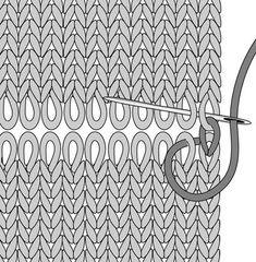 Kitchener stitch stap 2