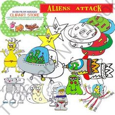 FREE - Aliens attack Cliparts for personal and commercial use from Hugs from Hernan  on TeachersNotebook.com (48 pages)  - These cliparts are related to the space themed. As they are my first cliparts, they are free.