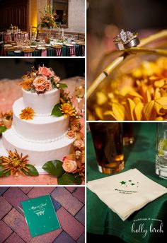 Wedding | Reception | Champaign Country Club | Green | Gold | Marmalade | Cake Reception | Centerpieces | www.hollybirchphotography.com