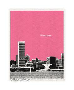 Milwaukee Art Wisconsin WI - World Traveler Series Pop Art Print City Milwaukee Skyline - Available in 56 Colors - UWI025 on Etsy, $16.00