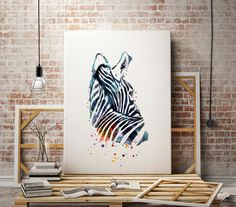 Zebra Watercolor animal print  - abstract poster - illustration -Digital wall art Print - painting - Home decor by WatercolorMary on Etsy https://www.etsy.com/listing/267757556/zebra-watercolor-animal-print-abstract