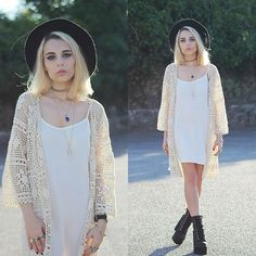 Made By My Mom Handmade Crochet Kimono, Front Row Shop Cami Dress, Parfois  Black Hat, Jeffrey Campbell Syndicate