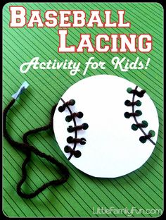 Baseball Lacing Activity for kids. Great fine-motor skills practice! Baseball preschool activity.
