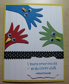 funny birthday card with colorful birds