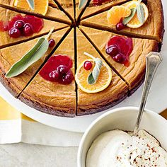 Pumpkin Pie Cheesecake Two treasured recipes come together for a light cheesecake that tastes like pumpkin pie. A tangy cranberry topping takes it to the next level.