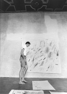 The artist working on the Bolsena paintings, 1969. (Photo: © Ugo Mulas © Cy Twombly Foundation)