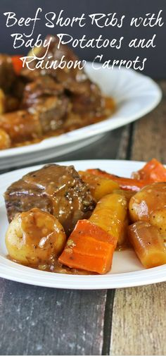 Beef Short Ribs with Baby Potatoes and Rainbow Carrots