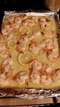 Lemon Butter shrimp.  Lemon, butter, Italian seasonsing package Bakes 350 @ 15 min. or until they turn pink.