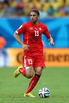 Ricardo Rodriguez of Switzerland controls the ball during the 2014 FIFA World Cup Brazil Group E match between Honduras and Switzerland at Arena Amazonia on June 25, 2014 in Manaus, Brazil.
