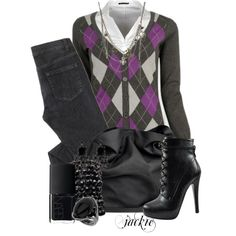 Argyle Sweater, white button down, black jeans, black heeled boots, black leather belt & accessories