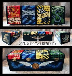 This 4 compartment box has each of the four Hogwarts Houses, a shimmery metallic painted golden snitch, the sorting hat, the acceptance letter, and a delivery owl. This box is meant to be neutral, no