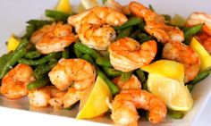 Roasted Shrimp and Green Beans; looks like a good choice of protein and a light starch