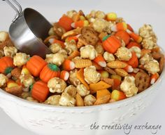 Sweet & Salty Fall Snack Mix {Caramel Corn, Cheddar Chex, Candy Corn}. The combined mix is so yummy and addicting!  The Creativity Exchange