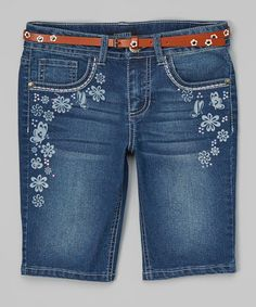 Look what I found on #zulily! Denim Floral Butterfly Belted Bermuda Shorts by Squeeze #zulilyfinds