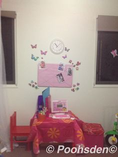 Mini workstation with butterflies and pictures for my 4 year old