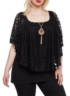 Plus Size Lace Top with Necklace - 0912058754176