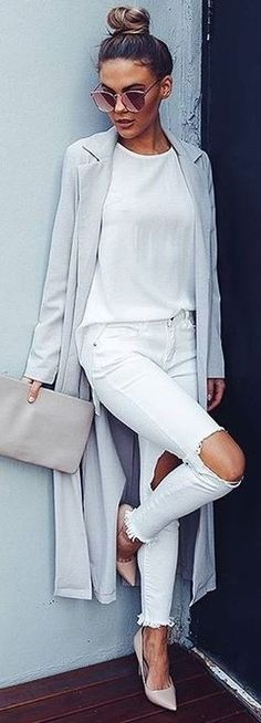 #summer #latest #trends |  Grey Robe Duster Coat + All White