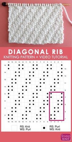 knitting charts Stunning design thats perfect for beginning knitters.This simple Diagonal Rib knit stitch pattern is achieved with just an easy repeat of knits and purls. Check out FREE Knitting Pattern, Chart, Photos, and Video Tutorial by Studio Knit. Rib Stitch Knitting, Purl Stitch, Knitting Charts, Easy Knitting, Knitting For Beginners, Knitting Stitches, Knitting Needles, Knitting Patterns Free, Stitch Patterns