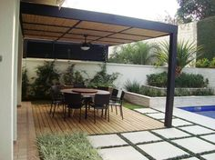 Pergola With Retractable Canopy Modern Backyard, Backyard Pergola, Outdoor Landscaping, Pergola Plans, Pergola Kits, Modern Pergola, Pergola Ideas, Outdoor Spaces, Outdoor Living