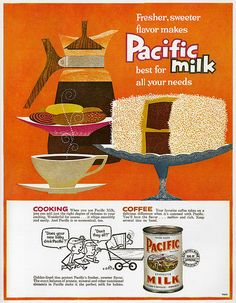 Illustrated full page advertisement for Pacific Milk, Chatelaine magazine June 1960. Illustrator / designer unknown.