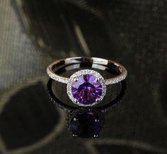 VS 6.5mm Dark Purple Amethyst and Diamonds 14k Yellow by EasyGem