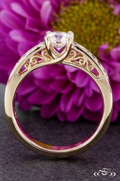 Rose Gold Miligrain Engagement Ring.Green Lake Jewelry