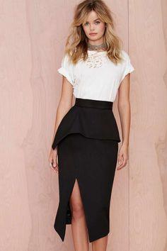 Nana Judy Slit Up Peplum Skirt - Skirts Peplum Skirt Outfits, Dress Skirt, Peplum Dress, Skirt Patterns Sewing, Office Fashion, Facon, White Fashion, Fashion Outfits, Womens Fashion