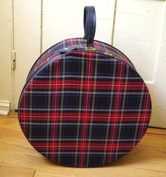 Vintage Round Red and Black Plaid Lark Suitcase by retrowarehouse