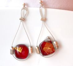 Red and gold earrings, silver and steel, sterling silver, steel wire,fused glass earrings, tiffany,glass and gold, unique gift, gift,for her by LaTerraCanta on Etsy NEW!!!
