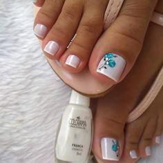 Salve este Pin e clique 2 vezes na foto, Receba mais de 100 ideias internacionais de unhas pintadas, Vc vai amar! Pedicure Designs, Pedicure Nail Art, Toe Nail Designs, Toe Nail Art, Toenail Polish Designs, Nail Nail, Cute Toe Nails, Pretty Nails, My Nails
