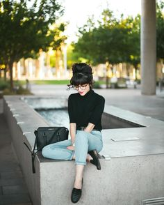 Black turtleneck with denim and black loafers. robert & christina (@newdarlings) • Instagram photos and videos